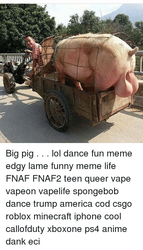 Spongebob Dance: Big pig . . . lol dance fun meme edgy lame funny meme life FNAF FNAF2 teen queer vape vapeon vapelife spongebob dance trump america cod csgo roblox minecraft iphone cool callofduty xboxone ps4 anime dank eci