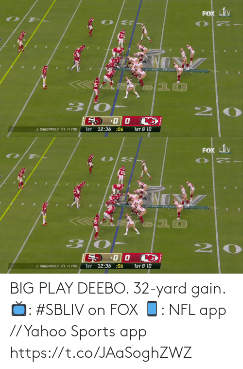 yard: BIG PLAY DEEBO. 32-yard gain.  📺: #SBLIV on FOX 📱: NFL app // Yahoo Sports app https://t.co/JAaSoghZWZ