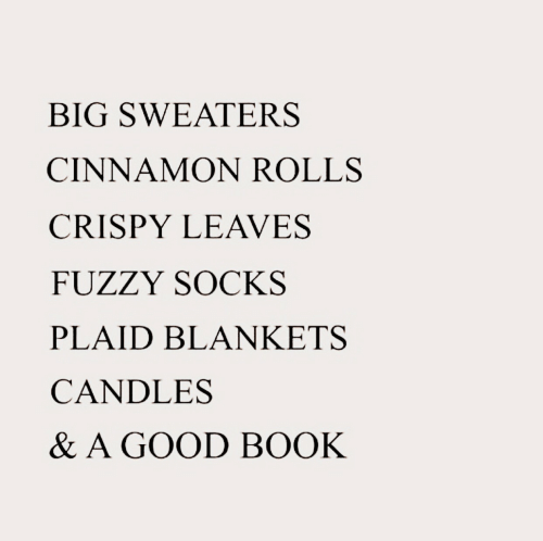 fuzzy: BIG SWEATERS  CINNAMON ROLLS  CRISPY LEAVES  FUZZY SOCKS  PLAID BLANKETS  CANDLES  & A GOOD BOOK