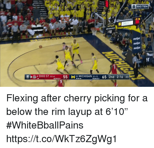 "Basketball, White People, and Michigan: BIG TEN  2 b  meljer  moljer  meljor  55 M22 MICHIGAN (21-7) 65 2nd 2:16 23  BONUS+ Flexing after cherry picking for a below the rim layup at 6'10"" #WhiteBballPains https://t.co/WkTz6ZgWg1"