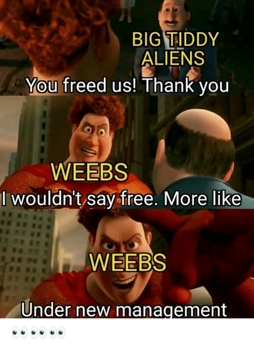 Big Tiddy: BIG TIDDY  ALIENS  You freed us! Thank you  WEEBS  I wouldn't say free. More like  WEEBS  Under new management 👀👀👀