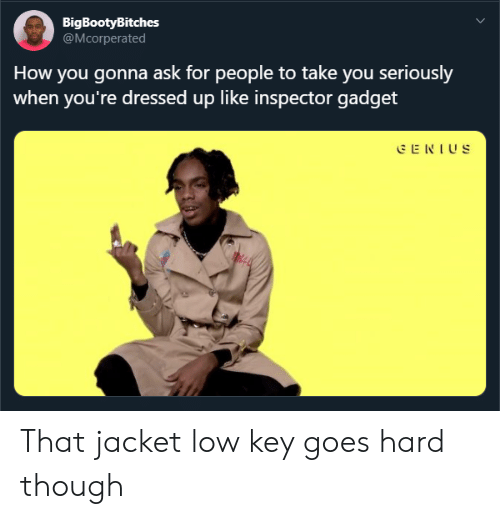Inspector Gadget: BigBootyBitches  @Mcorperated  How you gonna ask for people to take you seriously  when you're dressed up like inspector gadget  E NIUS That jacket low key goes hard though