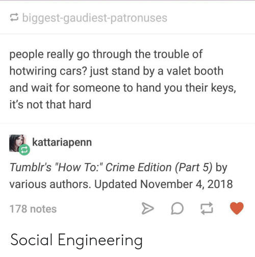 "Part 5: biggest-gaudiest-patronuses  people really go through the trouble of  hotwiring cars? just stand by a valet booth  and wait for someone to hand you their keys,  it's not that hard  kattariapenn  Tumblr's ""How To:"" Crime Edition (Part 5) by  various authors. Updated November 4, 2018  178 notes Social Engineering"