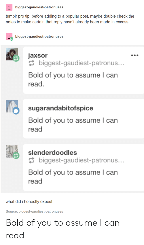 Pro Tip: biggest-gaudiest-patronuses  tumblr pro tip: before adding to a popular post, maybe double check the  notes to make certain that reply hasn't already been made in excess  biggest-gaudiest-patronuses  jaxsor  biggest-gaudiest-patronus.  Bold of you to assume l can  read  sugarandabitofspice  Bold of you to assume l can  read  slenderdoodles  biggest-gaudiest-patronus..  Bold of you to assume can  read  what did i honestly expect  Source: biggest-gaudiest-patronuses Bold of you to assume I can read