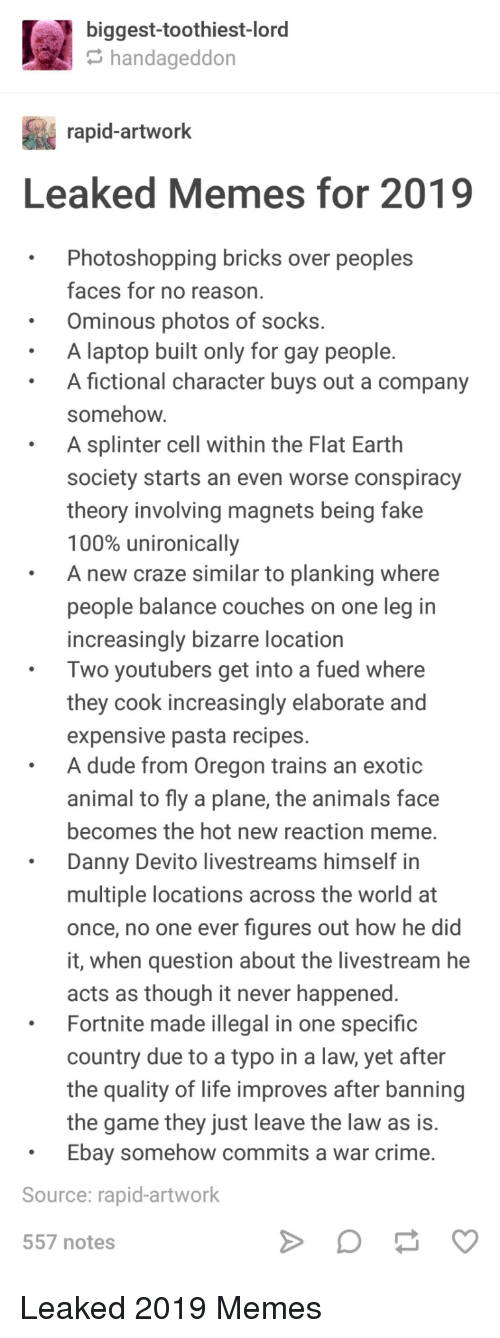 fued: biggest-toothiest-lord  handageddon  rapid-artwork  Leaked Memes for 2019  .Photoshopping bricks over peoples  faces for no reason  Ominous photos of socks.  A laptop built only for gay people.  A fictional character buys out a company  somehow  A splinter cell within the Flat Earth  society starts an even worse conspiracy  theory involving magnets being fake  100% unironically  A new craze similar to planking where  people balance couches on one leg in  increasingly bizarre location  Two youtubers get into a fued where  they cook increasingly elaborate and  expensive pasta recipes.  A dude from Oregon trains an exotic  animal to fly a plane, the animals face  becomes the hot new reaction meme.  Danny Devito livestreams himself in  multiple locations across the world at  once, no one ever figures out how he did  it, when question about the livestream he  acts as though it never happened  Fortnite made illegal in one specific  country due to a typo in a law, yet after  the quality of life improves after banning  the game they just leave the law as is.  Ebay somehow commits a war crime.  Source: rapid-artwork  557 notes Leaked 2019 Memes