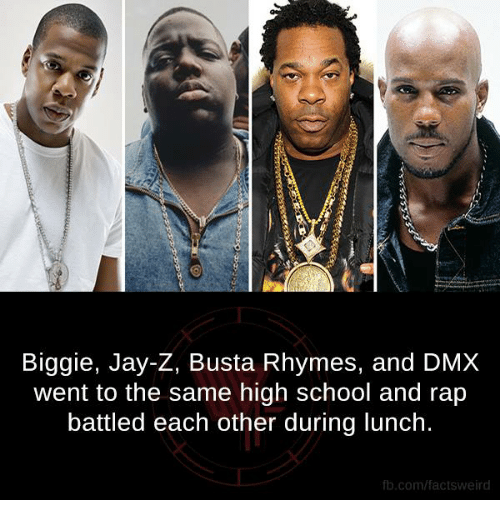 Rap Battles: Biggie, Jay-Z, Busta Rhymes, and DMX  went to the same high school and rap  battled each other during lunch.  fb.com/facts Weird