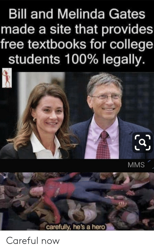 legally: Bill and Melinda Gates  made a site that provides  free textbooks for college  students 100% legally.  MMS  carefully, he's a hero Careful now