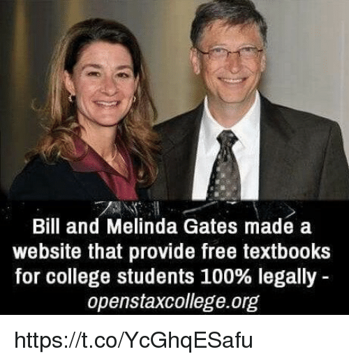 Anaconda, College, and Free: Bill and Melinda Gates made a  website that provide free textbooks  for college students 100% legally  openstaxcollege.org https://t.co/YcGhqESafu