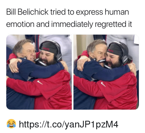 Bill Belichick, Football, and Nfl: Bill Belichick tried to express human  emotion and immediately regretted it 😂 https://t.co/yanJP1pzM4