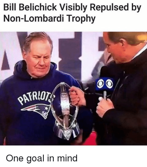 repulsive: Bill Belichick Visibly Repulsed by  Non-Lombardi Trophy One goal in mind