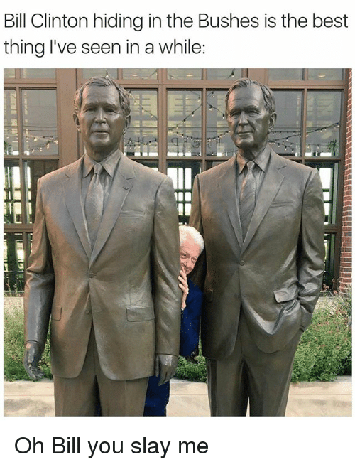 slayed: Bill Clinton hiding in the Bushes is the best  thing I've seen in a while:  Il Oh Bill you slay me
