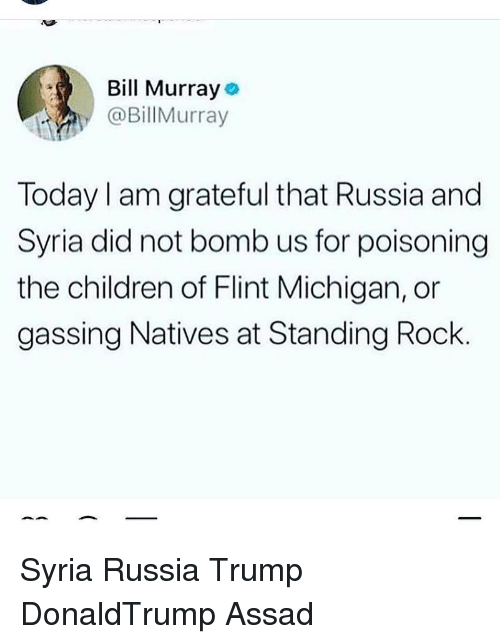 assad: Bill Murray  @BillMurray  Today I am grateful that Russia and  Syria did not bomb us for poisoning  the children of Flint Michigan, or  gassing Natives at Standing Rock Syria Russia Trump DonaldTrump Assad