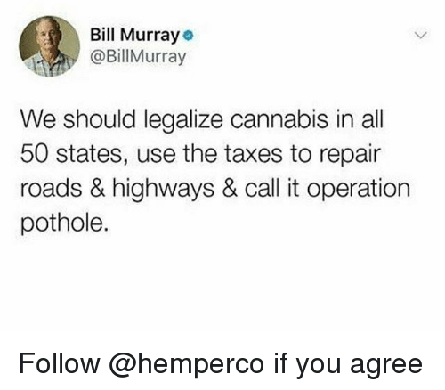 50 states: Bill Murray  @BillMurray  We should legalize cannabis in all  50 states, use the taxes to repair  roads & highways & call it operation  pothole. Follow @hemperco if you agree