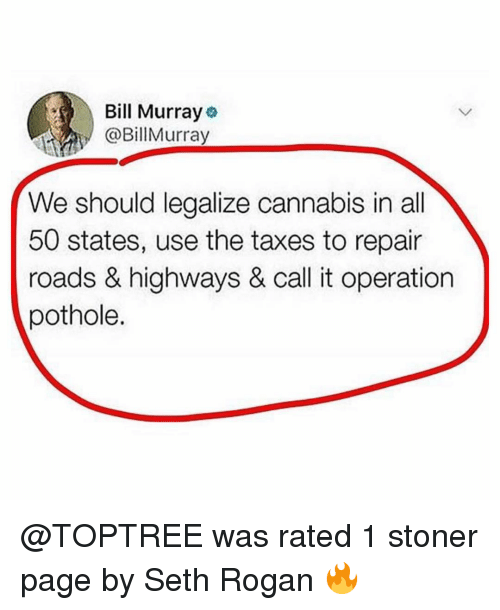 50 states: Bill Murray  @BillMurray  We should legalize cannabis in all  50 states, use the taxes to repair  roads & highways & call it operation  pothole. @TOPTREE was rated 1 stoner page by Seth Rogan 🔥