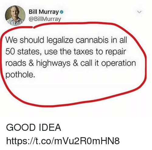 50 states: Bill Murray  @BillMurray  We should legalize cannabis in all  50 states, use the taxes to repair  roads & highways & call it operation  pothole. GOOD IDEA https://t.co/mVu2R0mHN8
