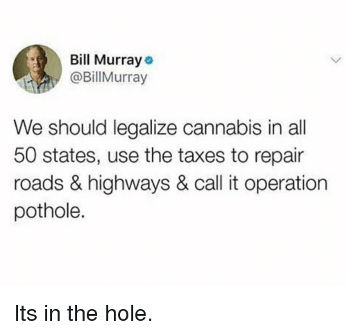 50 states: Bill Murray  @BillMurray  We should legalize cannabis in all  50 states, use the taxes to repair  roads & highways & call it operation  pothole. Its in the hole.