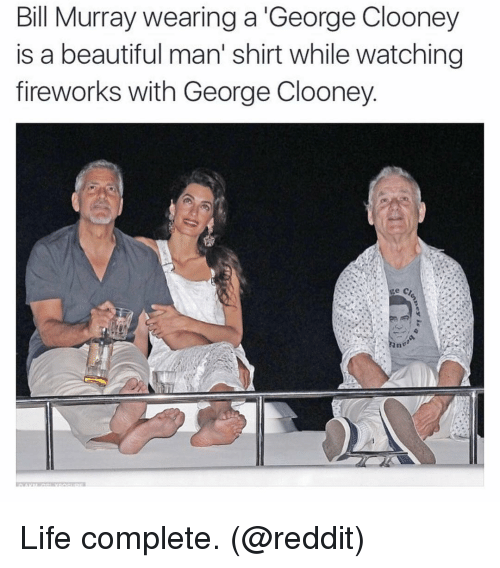 Beautiful, Funny, and Life: Bill Murray wearing a George Clooney  is a beautiful man' shirt while watching  fireworks with George Clooney Life complete. (@reddit)