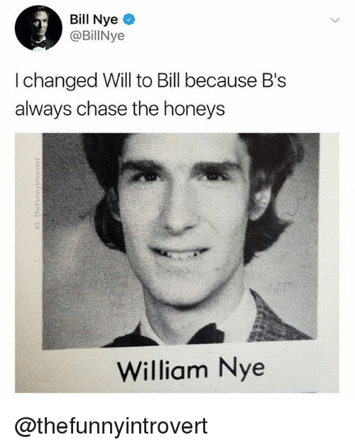 Bill Nye, Memes, and Chase: Bill Nye  @BillNye  I changed Will to Bill because B's  always chase the honeys  William Nye @thefunnyintrovert