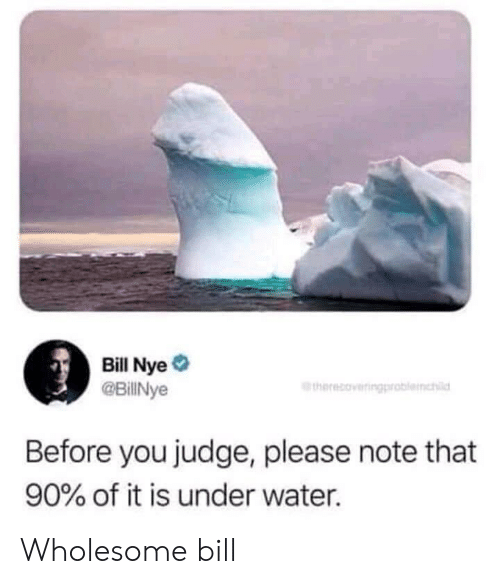 Nye: Bill Nye  @BillNye  therecoveringproblemhl  Before you judge, please note that  90% of it is under water. Wholesome bill
