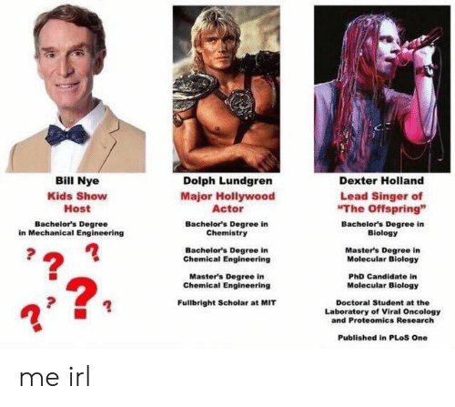 "Dolph: Bill Nye  Kids Show  Host  Dolph Lundgren  Major Hollywood  Actor  Bachelor's Degree in  Chemistry  Bachelor's Degree in  Chemical Engineering  Master's Degree in  Dexter Holland  Lead Singer of  The Offspring""  Bachelor's Degree  in Mechanical Engineering  Bachelor's Degree in  Biology  Master's Degree in  Molecular Biology  PhD Candidate in  Molecular Biology  Chemical Engineering  2  Fullbright Scholar at MIT  Doctoral Student at the  Laboratory of Viral Oncology  and Proteomics Research  Published in PLoS One me irl"