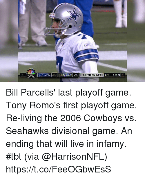 romos: Bill Parcells' last playoff game. Tony Romo's first playoff game.  Re-living the 2006 Cowboys vs. Seahawks divisional game. An ending that will live in infamy. #tbt (via @HarrisonNFL) https://t.co/FeeOGbwEsS