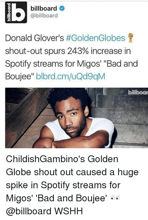 "Billboard, Donald Glover, and Golden Globes: billboard  @billboard  Donald Glover's  #GoldenGlobes  shout-out spurs 243% increase in  Spotify streams for Migos' ""Bad and  Boujee"" blbrd.cm/uQd9qM  billboar ChildishGambino's Golden Globe shout out caused a huge spike in Spotify streams for Migos' 'Bad and Boujee' 👀 @billboard WSHH"