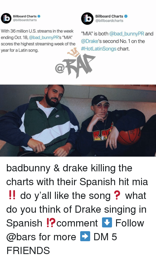 "drakes: Billboard Charts  @billboardcharts  Billboard Charts  @billboardcharts  LU  With 36 million U.S. streams in the week  ending Oct. 18, @bad_bunnyPR's ""MIA""  scores the highest streaming week of the  year for a Latin song.  _bunnyPR and  @Drake's second No.1 on the  #HotLatinsongs chart badbunny & drake killing the charts with their Spanish hit mia ‼️ do y'all like the song❓ what do you think of Drake singing in Spanish ⁉️comment ⬇️ Follow @bars for more ➡️ DM 5 FRIENDS"