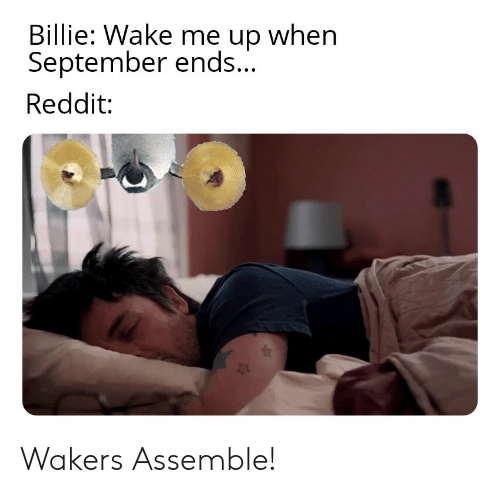 wake me up when september ends: Billie: Wake me up when  September ends...  Reddit: Wakers Assemble!