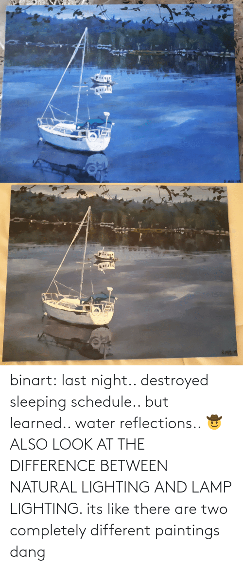 Paintings: binart:  last night.. destroyed sleeping schedule.. but learned.. water reflections.. 🤠ALSO LOOK AT THE DIFFERENCE BETWEEN NATURAL LIGHTING AND LAMP LIGHTING. its like there are two completely different paintings dang