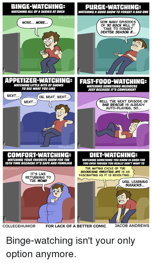 Fast Food, Food, and Mediocre: BINGE-WATCHING  PURGE WATCHING:  WATCHING ALLOF A SERIES ATONCE  WATCHING GOOD SHOW TO FORGETA BAD ONE  HOW MANY EPISODES  MORE... MORE...  OF 30 ROCK WILL IT  TAKE TO FORGET  DEXTER SEASON 8...  APPETIZER-WATCHING  FAST-FOOD-WATCHING  WATCHING LITTLE BITSOF SHOWS  WATCHING SOMETHING MEDIOCRE  TO SEE WHAT YOU LIKE  JUST BECAUSE IT'S CONVENIENT  NEXT.  OH, NEAT. NEXT.  WELL THE NEXT EPISODE OF  NEXT.  BAR REscuE IS ALREADY  AUTO-PLAYING, 50.  DIET WATCHING:  COMFORTWATCHING:  WATCHING YOURFAVORITE SHOW FOR THE  WATCHING SOMETHING  YOU KNOWISGOOD FOR  15TH TIME BECAUSE IT'S SAFE AND FAMILIAR  YOU EVEN THOUGH YOUREALLY DON'T WANT TO  THE MATING CycLE OF THE  INDONESIAN SMEATING APE IS AS  IT'S LIKE  FASCINATING AS IT IS REVOLTING.  RETURNING TO  THE WOMB  uGH, LEARNING  COLLEGEHUMOR  FOR LACK OF A BETTER COMIC  JACOB ANDREWS Binge-watching isn't your only option anymore.