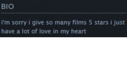 films: BIO  i'm sorry i give so many films 5 stars i just  have a lot of love in my heart