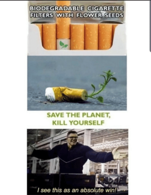kill yourself: BIODEGRADABLE CIGARETTE  FILTERS WITH FLOWER SEEDS  SAVE THE PLANET,  KILL YOURSELF  I see this as an absolute wiin!