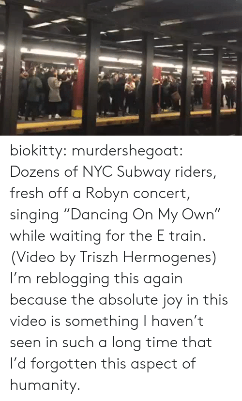 """nyc: biokitty: murdershegoat: Dozens of NYC Subway riders, fresh off a Robyn concert, singing """"Dancing On My Own"""" while waiting for the E train. (Video by Triszh Hermogenes) I'm reblogging this again because the absolute joy in this video is something I haven't seen in such a long time that I'd forgotten this aspect of humanity."""