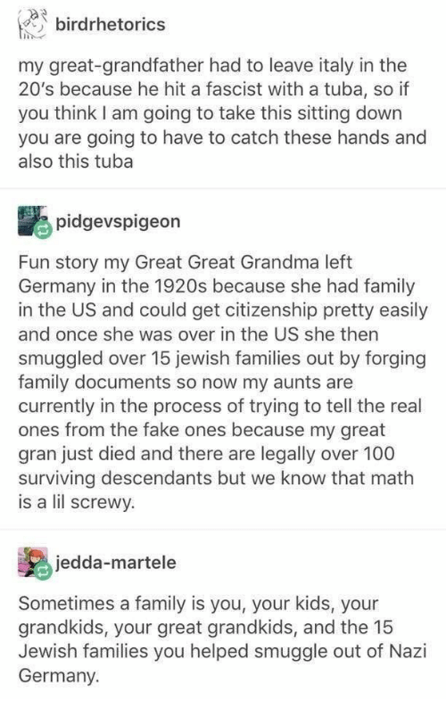 Grandkids: birdrhetorics  my great-grandfather had to leave italy in the  20's because he hit a fascist with a tuba, so if  you think I am going to take this sitting down  you are going to have to catch these hands and  also this tuba  pidgevspigeon  Fun story my Great Great Grandma left  Germany in the 1920s because she had family  in the US and could get citizenship pretty easily  and once she was over in the US she then  smuggled over 15 jewish families out by forging  family documents so now my aunts are  currently in the process of trying to tell the real  ones from the fake ones because my great  gran just died and there are legally over 100  surviving descendants but we know that math  is a lil screwy.  jedda-martele  Sometimes a family is you, your kids, your  grandkids, your great grandkids, and the 15  Jewish families you helped smuggle out of Nazi  Germany.