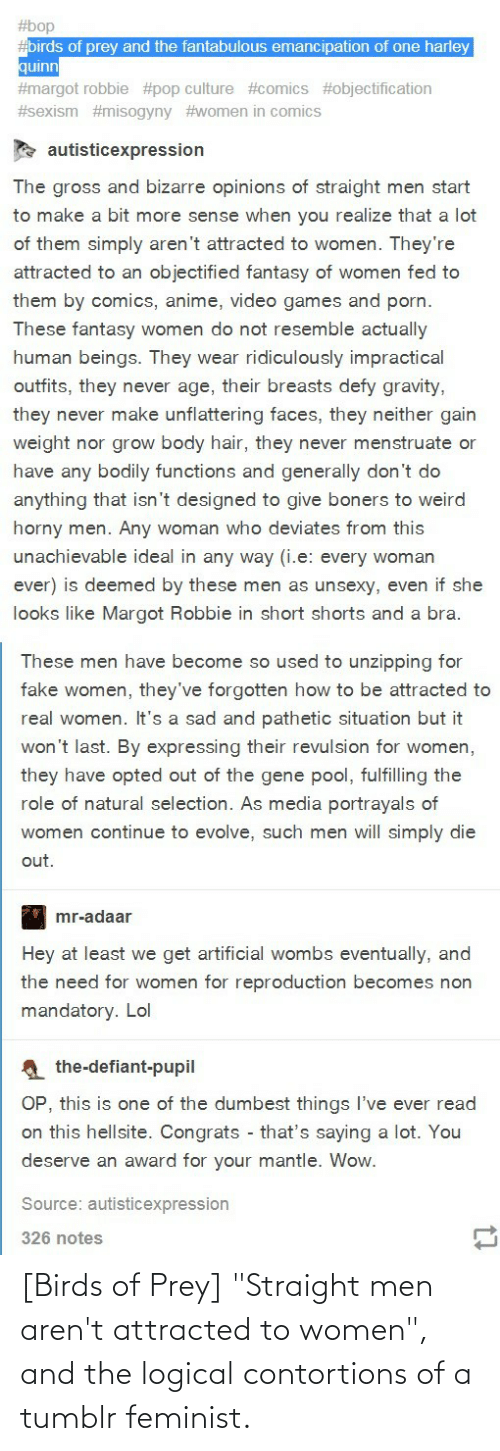 """attracted: [Birds of Prey] """"Straight men aren't attracted to women"""", and the logical contortions of a tumblr feminist."""