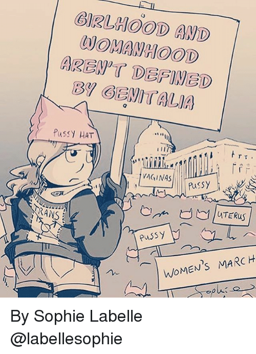 Womens March: BIRLHOOD AND  WOMAWHOOD  PuSSY HAT  Pussy  TRANS  RANS  WOMEN'S MARCH By Sophie Labelle @labellesophie