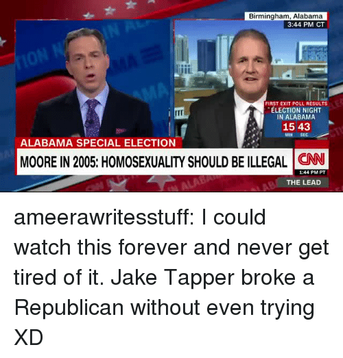 Jake Tapper: Birmingham, Alabama  3:44 PM CT  FIRST EXIT POLL RESULTS  ELECTION NIGHT  IN ALABAMA  1543  MIN  ALABAMA SPECIAL ELECTION  MOORE IN 2005: HOMOSEXUALITY SHOULD BE ILLEGAL CN  1:44 PM PT  THE LEAD ameerawritesstuff:  I could watch this forever and never get tired of it. Jake Tapper broke a Republican without even trying XD