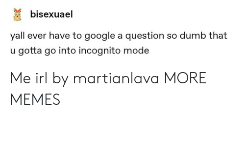 So Dumb: bisexuael  yall ever have to google a question so dumb that  u gotta go into incognito mode Me irl by martianlava MORE MEMES
