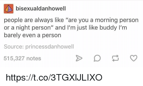 "Memes, 🤖, and Personal: bisexualdanhowell  people are always like ""are you a morning person  or a night person"" and I'm just like buddy I'm  barely even a person  Source: princessdanhowell  515,327 notes https://t.co/3TGXlJLIXO"