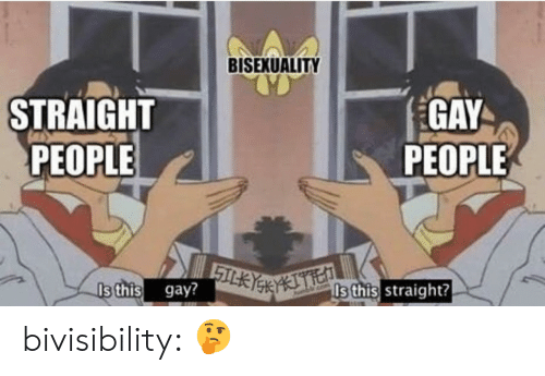 Bisexuality: BISEXUALITY  STRAIGHT  PEOPLE  GAY  PEOPLE  Is this gay?  Is this straight? bivisibility: 🤔