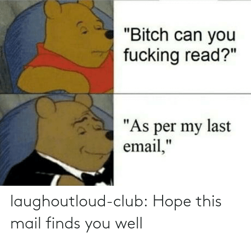 "Mail: ""Bitch can you  fucking read?""  ""As per my last  email,"" laughoutloud-club:  Hope this mail finds you well"
