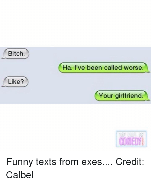 Bitch, Funny, and Girlfriend: Bitch  Ha. I've been called worse.  Like?  Your girlfriend  COMEDY Funny texts from exes....  Credit: Calbel