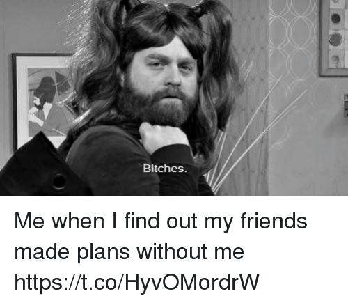 Friends, Girl Memes, and Made: Bitches Me when I find out my friends made plans without me https://t.co/HyvOMordrW