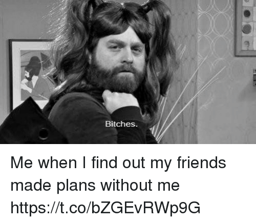 Friends, Girl Memes, and Made: Bitches Me when I find out my friends made plans without me https://t.co/bZGEvRWp9G
