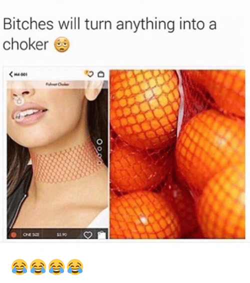Choker: Bitches will turn anything into a  choker  <MA001  S 90 😂😂😂😂