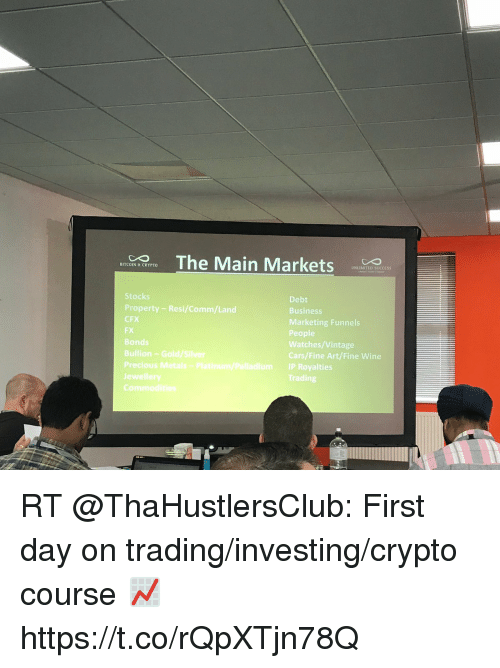 Cars, Funny, and Precious: BITCOIN & CRYPTO  UNLIMITED SUCCESS  Stocks  Property - Resi/Comm/Land  CFX  FX  Bonds  Bullian Gold/Silver  Precious  je  Debt  Business  Marketing Funnels  People  Watches/Vintage  Cars/Fine Art/Fine Wine  IP Royalties  Trading RT @ThaHustlersClub: First day on trading/investing/crypto course 📈 https://t.co/rQpXTjn78Q