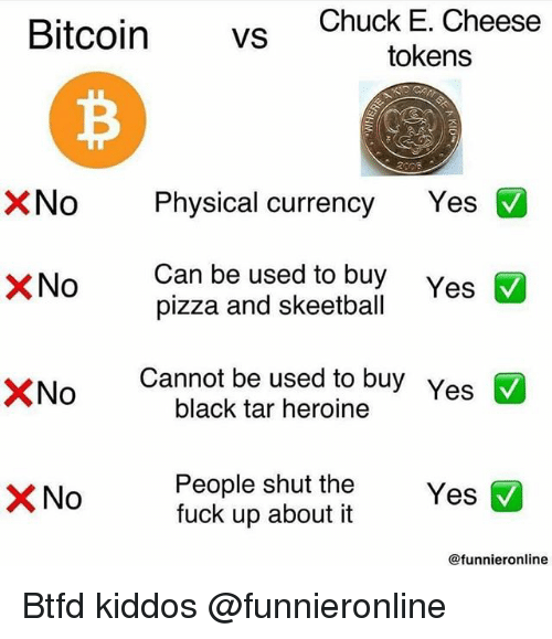 heroine: Bitcoin vs  Chuck E. Cheese  tokens  No Physical currency Yes  Can be used to buy  pizza and skeetball  XNo  Yes  ×No  Cannot be used to buy  black tar heroine  Yes  People shut the  fuck up about it  @funnieronline Btfd kiddos @funnieronline