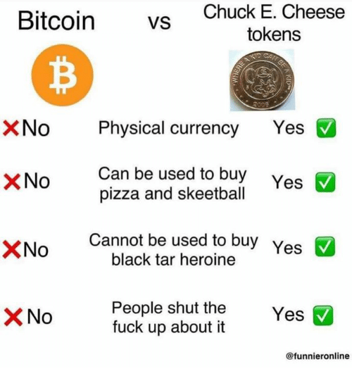 heroine: Bitcoin vS  Chuck E. Cheese  tokens  XNo Physical currency Yes  Can be used to buy  pizza and skeetball  ×No  Cannot be used to buy Yes  black tar heroine  People shut the Y  fuck up about it  No  Yes  @funnieronline