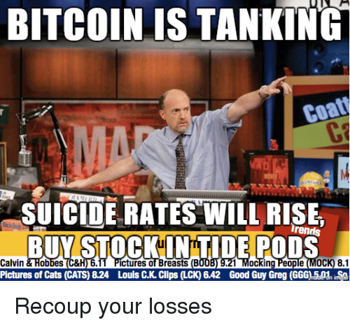Cats, Good, and Pictures: BITCOINIS TANKING  SUICIDE RATES WILL RISE  Irends  Calvin&Hob  Pictures of Cats (CATS) 8.24  1 Mocking People (MoCK) 8.1  Good Guy Greg (GGGAPh  ictures of Breasts (B  Louis CK Clips (LCK) 6.42 Recoup your losses