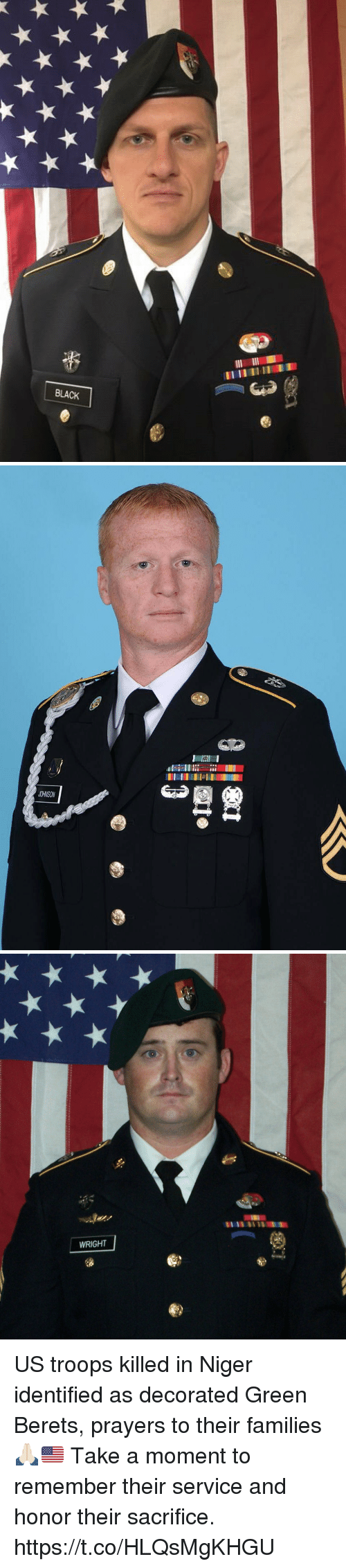 Memes, Black, and 🤖: BLACK   12  JOHNSON   WRIGHT US troops killed in Niger identified as decorated Green Berets, prayers to their families 🙏🏻🇺🇸 Take a moment to remember their service and honor their sacrifice. https://t.co/HLQsMgKHGU